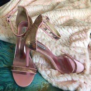 Cape Robbin Satin and Sequins Ankle Strap Heels
